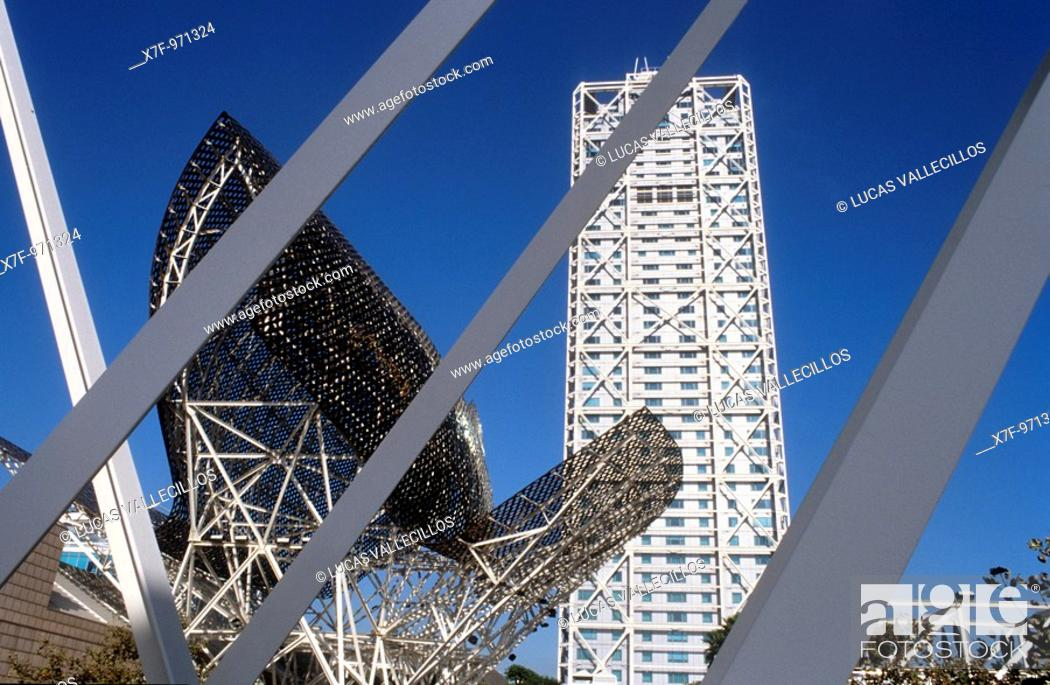 Stock Photo: Barcelona: Hotel Arts and `Peix'fish Sculpture by Frank O  Gehry.