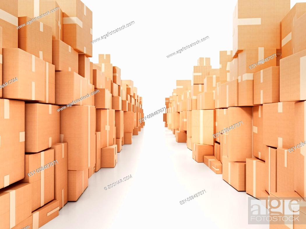 Stock Photo: Corridor consisting of cardboard boxes. 3D illustration.