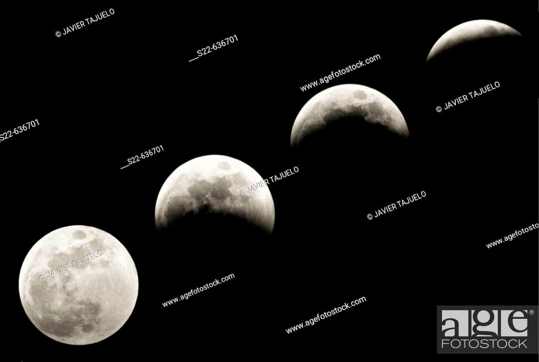 Stock Photo: Progression of a lunar eclipse.