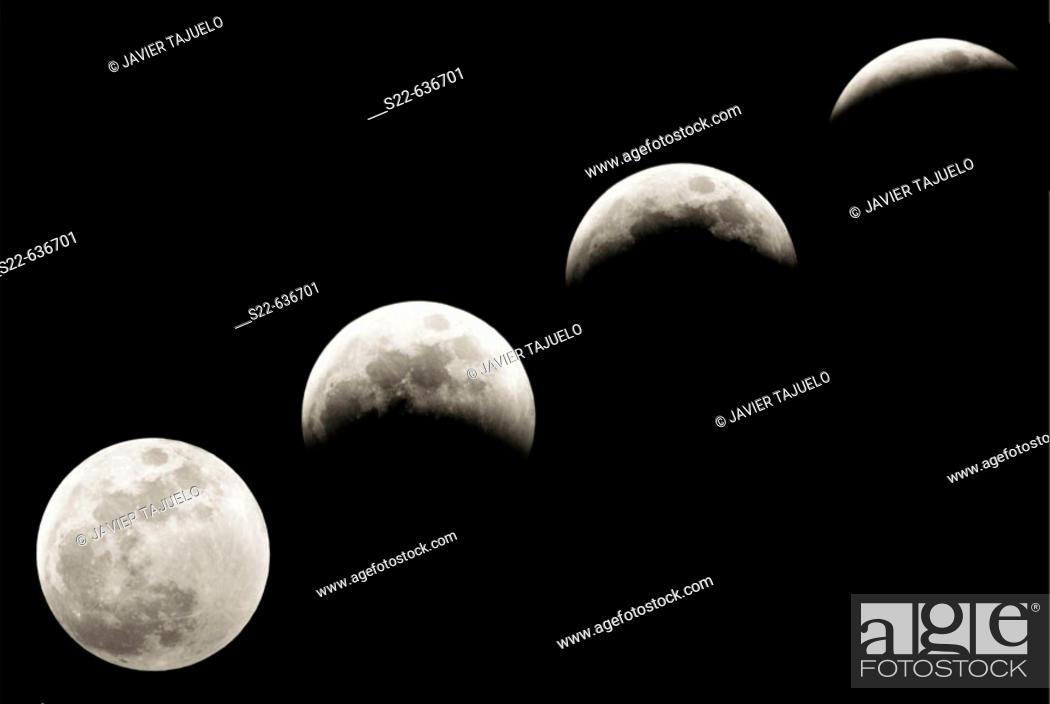 Stock Photo: Progression of a lunar eclipse.
