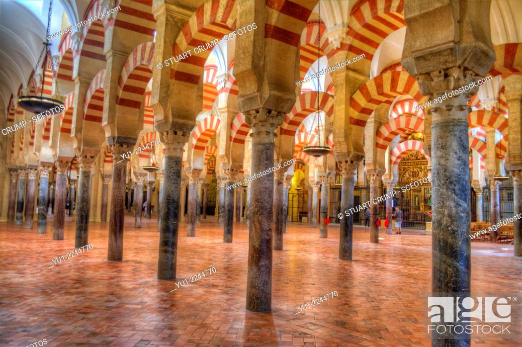 Stock Photo: HDR of the interior of the Mosque-Cathedral of Córdoba, Córdoba, Spain.