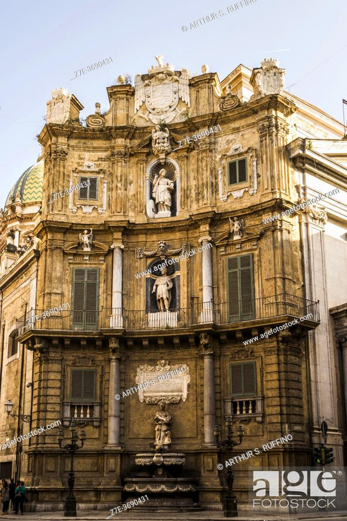 Stock Photo: The Four Corners (Quattro Canti) or Theatre of the Sun (Teatro del Sole). Each architectural façade represents one of the four seasons incorporating an imperial.