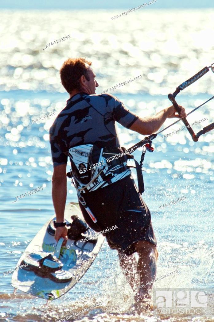 Stock Photo: Kiteboarding in Ebro Delta  Nature Park  Tarragona  Spain.