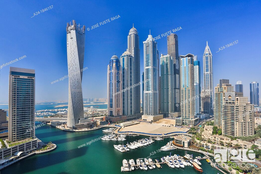 Stock Photo: United Arab Emirates UAE , Dubai City , Dubai Marina, Infinty Bldg.