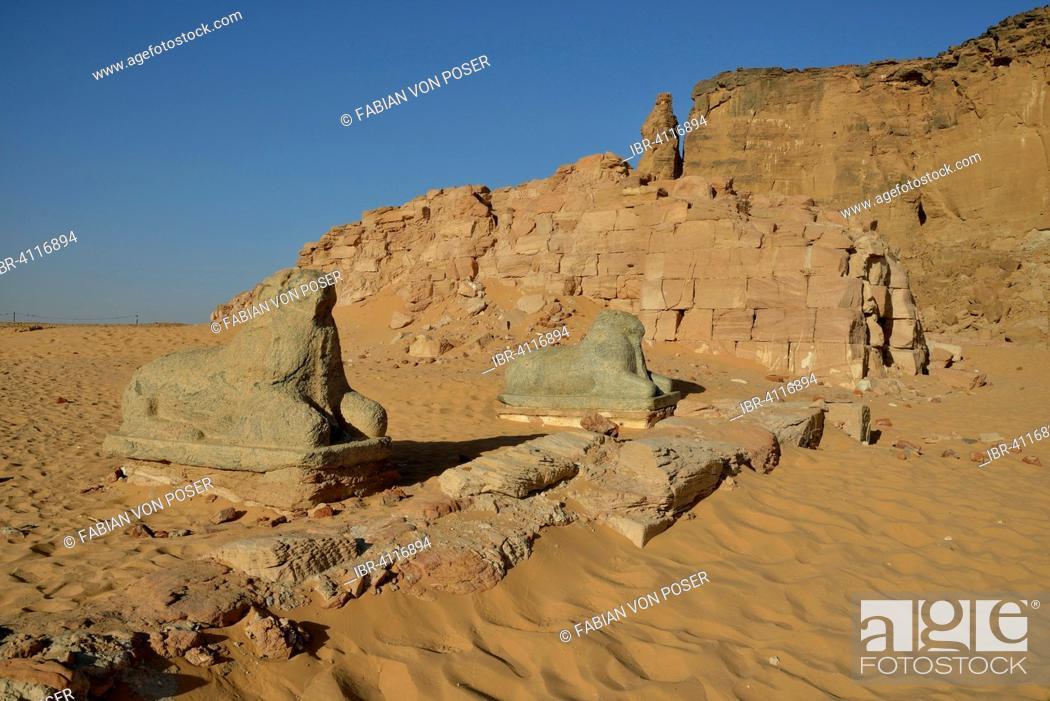 Stock Photo: Aries Sphinx of Amun temple at the foot of Jebel Barkal, Karima, State of ash-Schamaliyya, Nubia, Sudan.