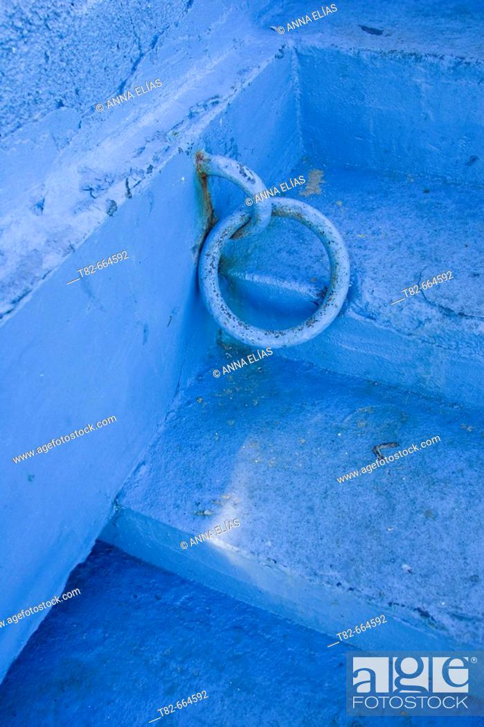 Stock Photo: Detail of blue stairs, Chefchaouen. Morocco.