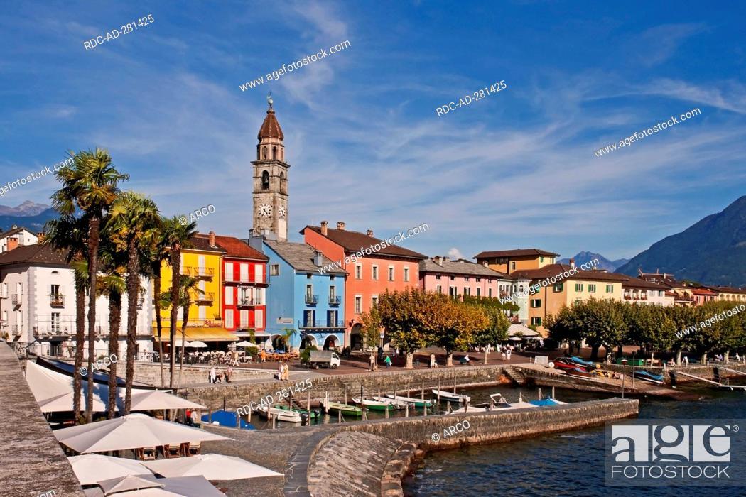 Stock Photo: Promenade, harbour, Ascona, Lago Maggiore, Ticino, Switzerland.