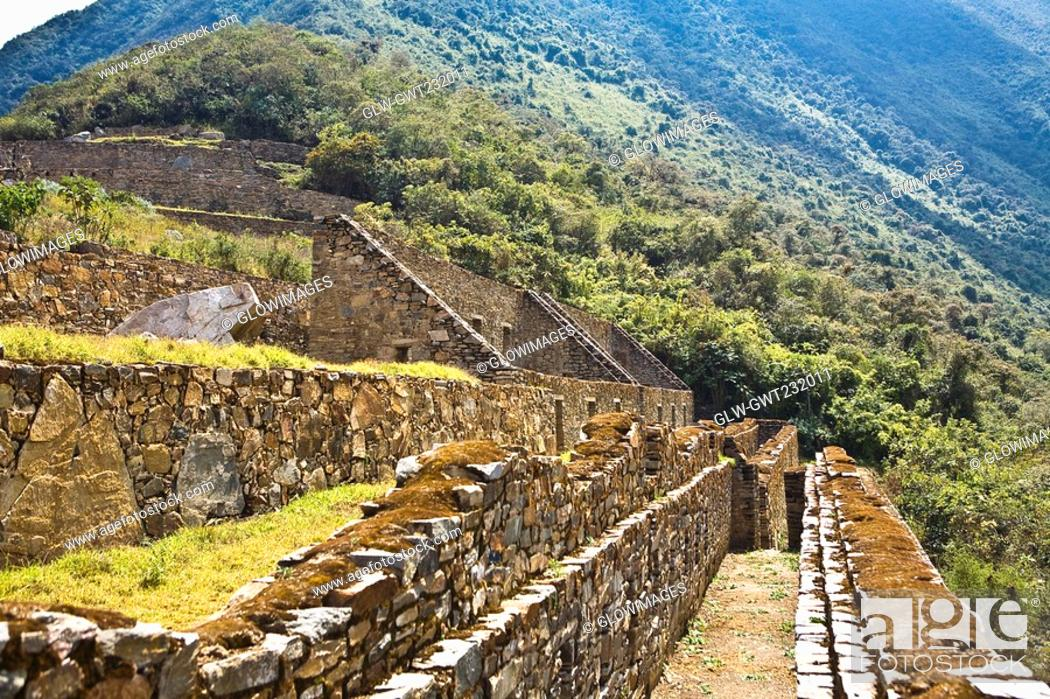 Stock Photo: Old ruins of buildings, Choquequirao, Inca, Cusco Region, Peru.