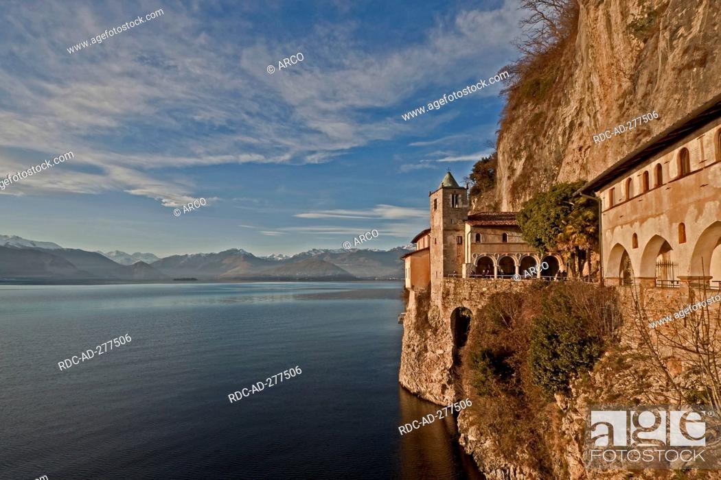 Stock Photo: Abbey Santa Caterina del Sasso Ballaro, Lago Maggiore, Leggiuno, Lombardy, Province of Varese, Italy.