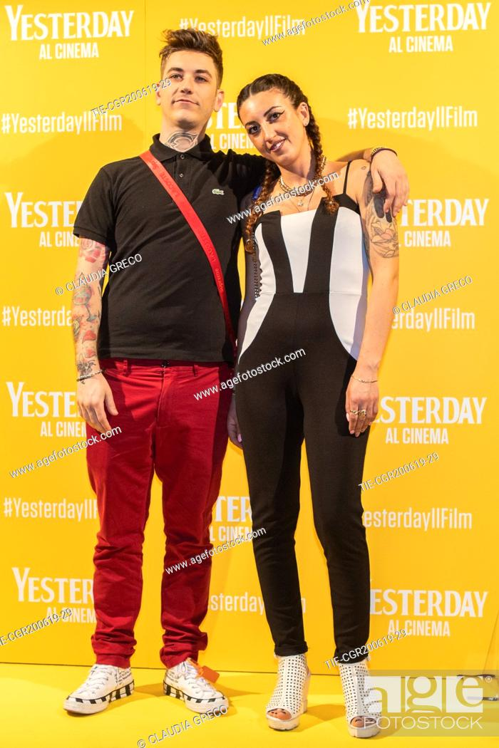 Imagen: Dani Faiv with girlfiend during the photocall of film ' Yesterday ' in Milan, ITALY-20-06-2019.