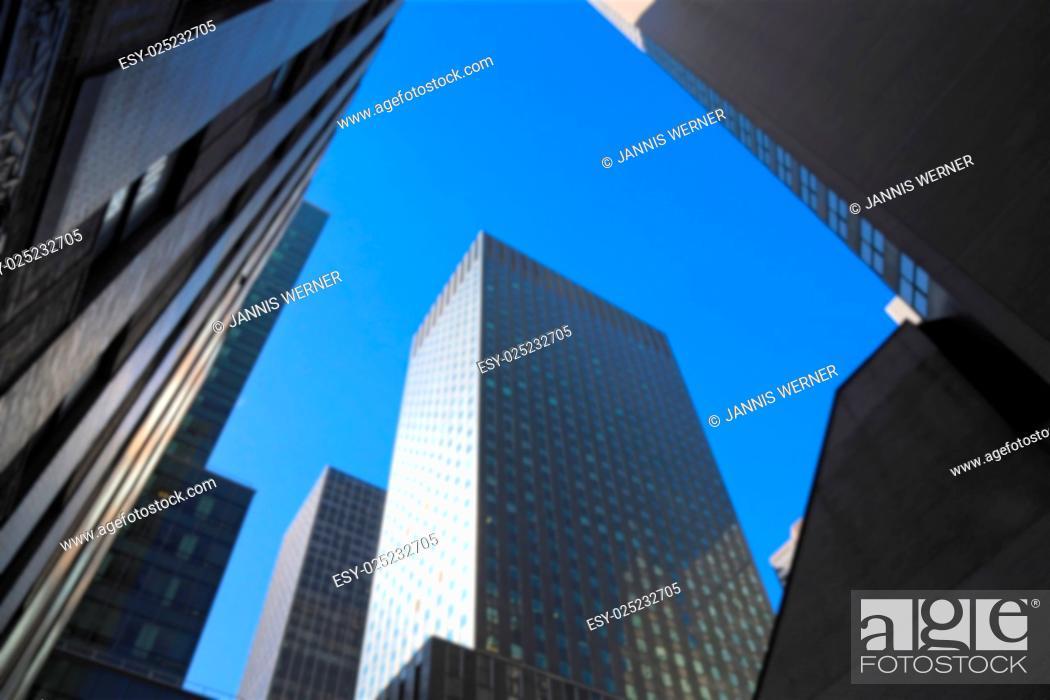 Stock Photo: Background blur of skyscraper architecture in New York, NY, USA.