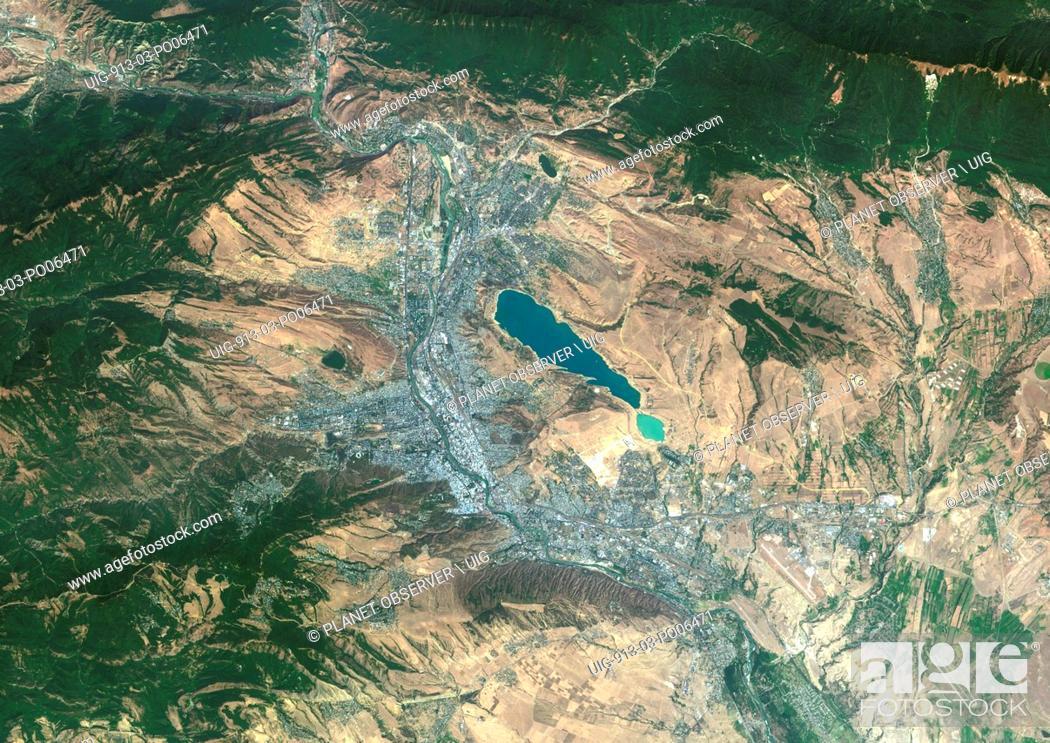 Stock Photo: Colour satellite image of Tbilisi, Georgia. Image taken on August 28, 2014 with Landsat 8 data.