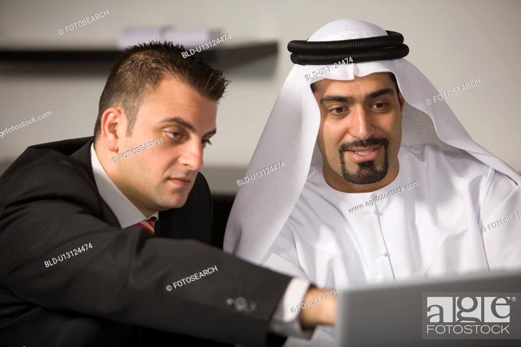 Stock Photo: laptop, business, computer, businessmen, businessman, Arabic.