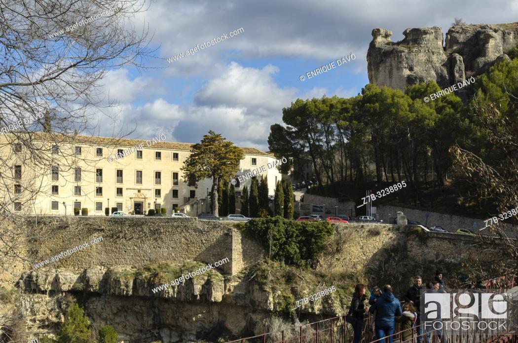 Stock Photo: View of a San Pablo bridge close to Cuenca old town.