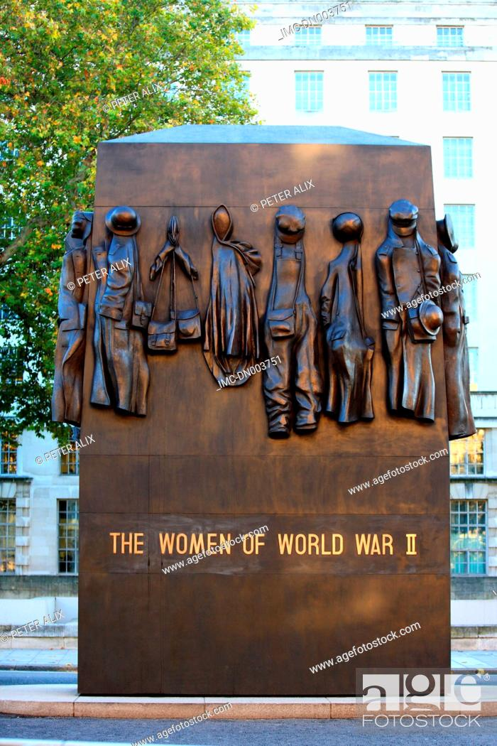 Stock Photo: England, London, Whitehall, monument to the women of world war II.