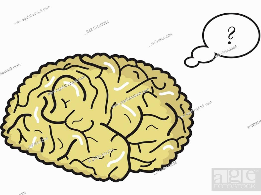 Stock Photo: An illustration of a thinking brain on a white background.