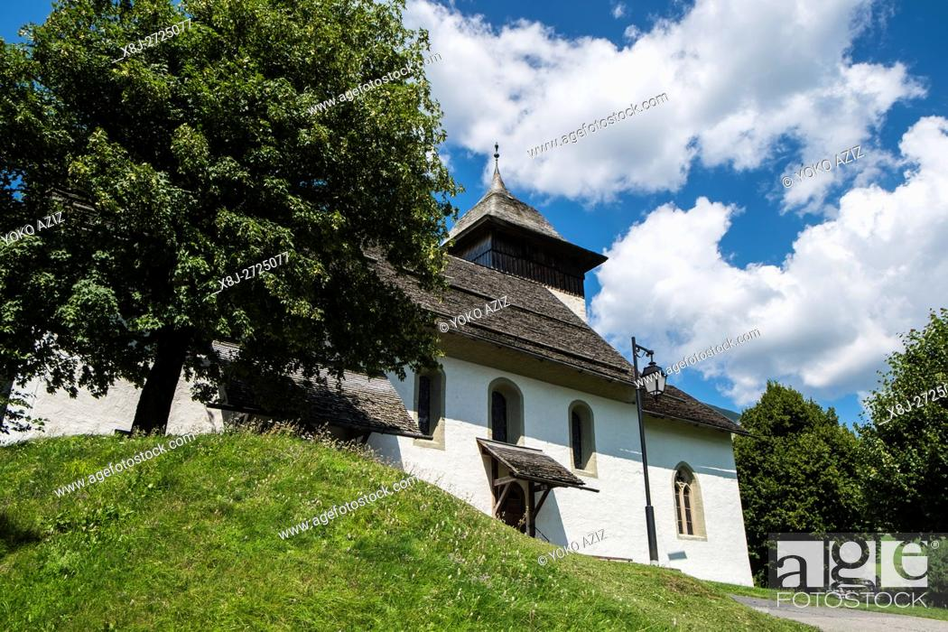 Imagen: Switzerland, Canton Vaud, Chateau d'Oex, local church.
