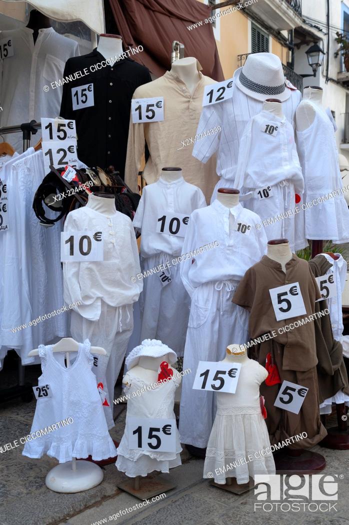 Stock Photo: Mannequin dressed with white clothes, Eivissa, Ibiza, Balearic Islands, Spain, Mediterranean, Europe.