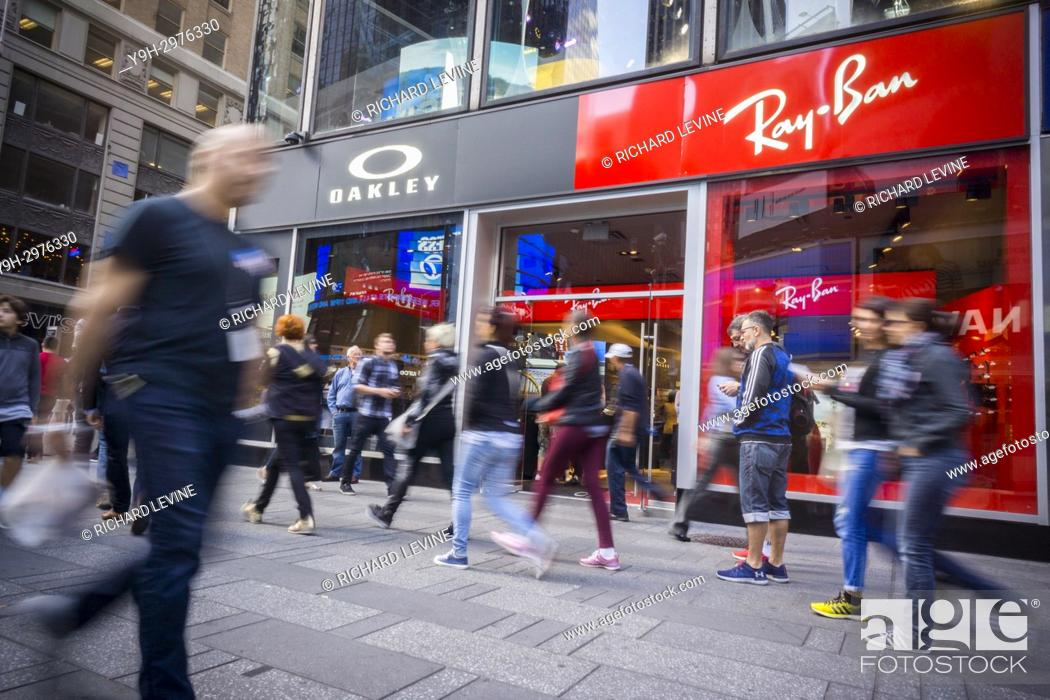 b9aff8d7c8 Stock Photo - Luxottica brands Oakley and Ray-Ban share a store in Times  Square in New York on Friday, September 29, 2017 ... . The European Union  antitrust ...