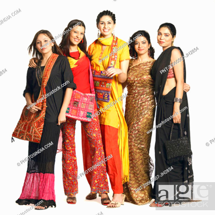 Stock Photo: Portrait of five young women standing together.