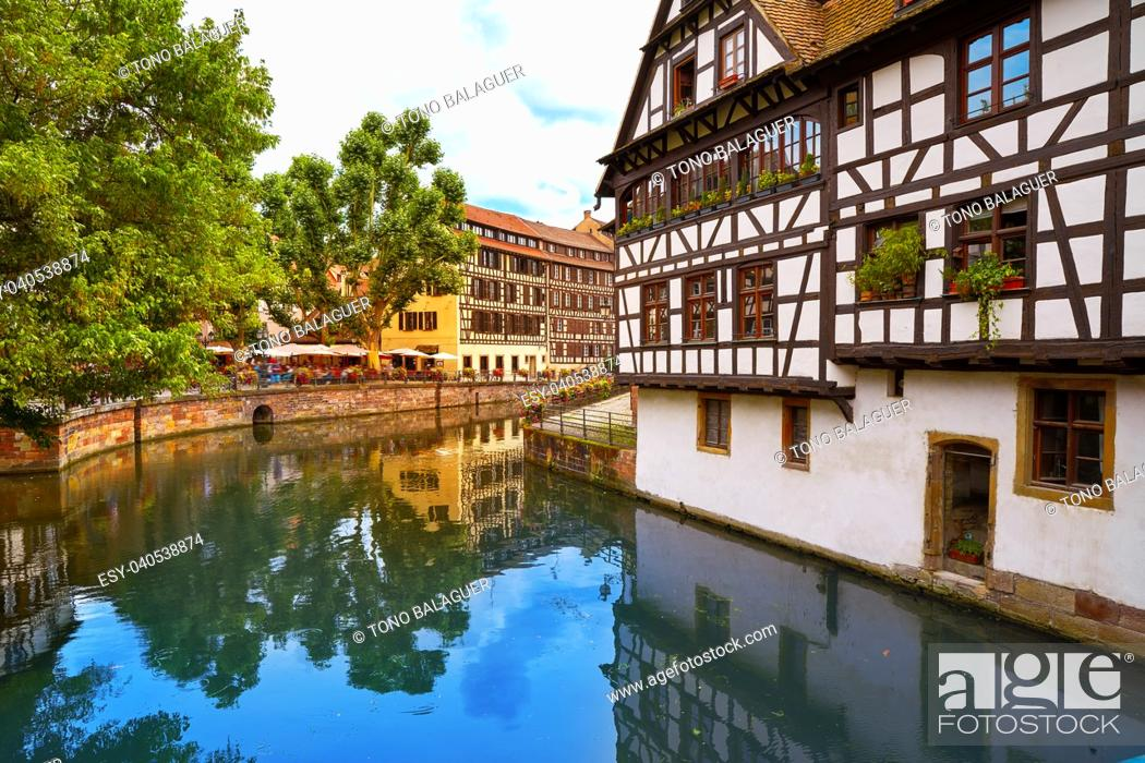 Stock Photo: Strasbourg la Petite France in Alsace half timbered houses.