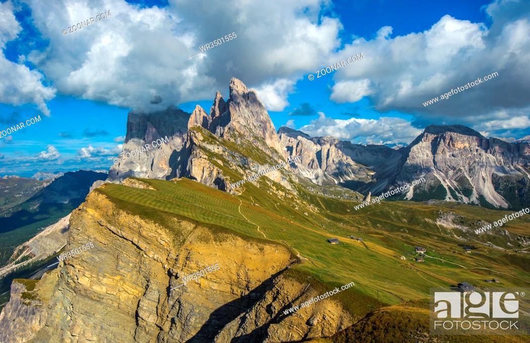 Stock Photo: Seceda peak, Odle mountain range, Gardena Valley, Dolomites, Italy.