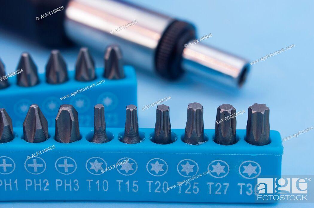 Stock Photo: Screwdriver drill bits.