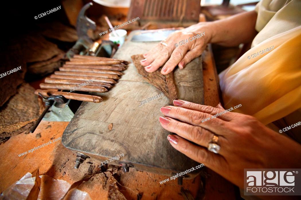 Stock Photo: Close-Up photo of a woman preparing a cuban cigar in Casa de la Cultura, Trinidad, Sancti Spíritus Province, Cuba, West Antilles, Central America.