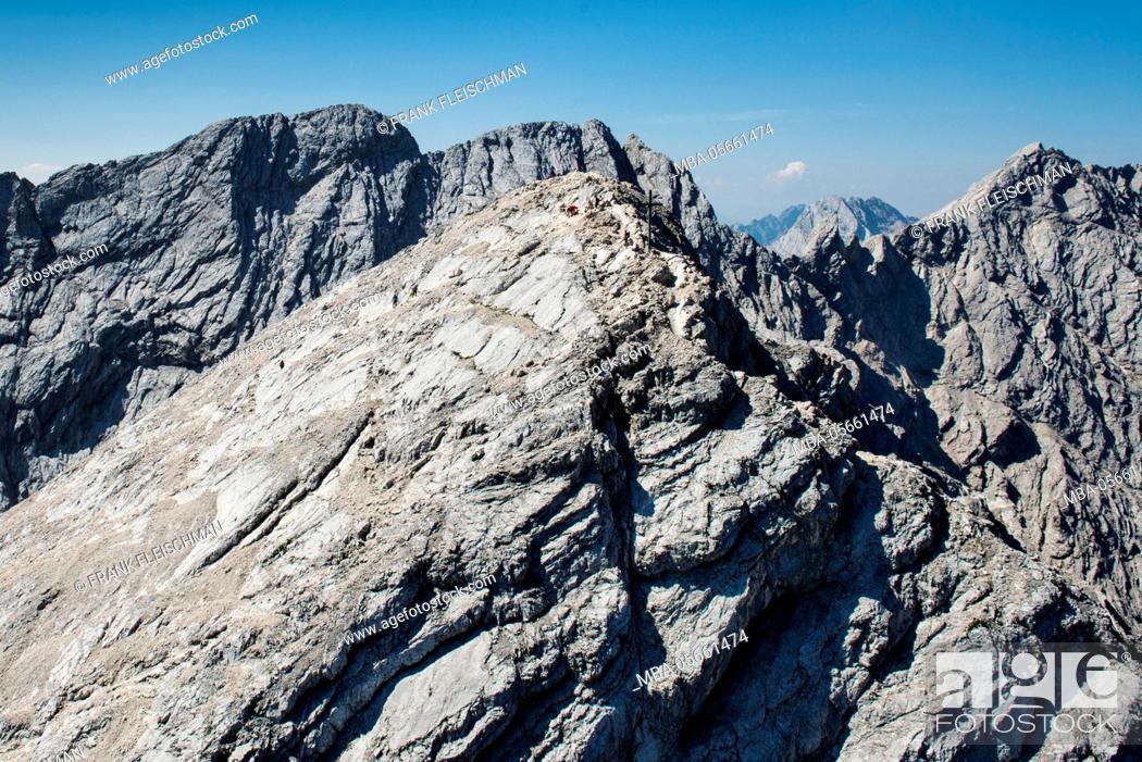 Stock Photo: Alpspitze, Garmisch-Partenkirchen, mountaintop, Ferrata, aerial picture, Wetterstein Range, Jubiläumsgrat, Bavaria, Germany.