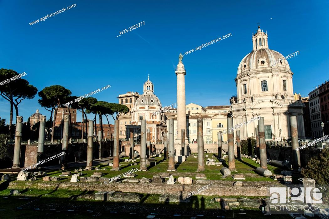 Stock Photo: Piazza Foro Traiano and Chiesa SS Nome di María in background, Rome, Italy.