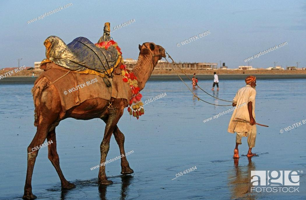 Pakistan, Sind Region, Karachi, Clifton Beach, Stock Photo