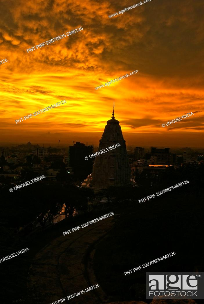 Stock Photo: Cityscape viewed from fort at dusk, Amber, Amber Fort, Jaipur, Rajasthan, India.