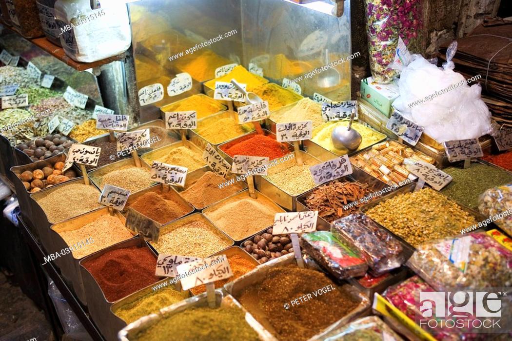 Syria, Damascus, Hamidiyye Suq, sale, spices, Orient