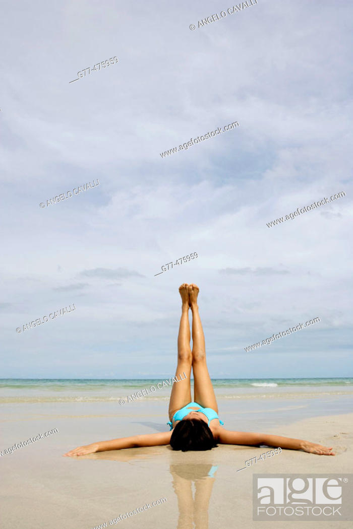 Stock Photo: Koh Samui Island. Thai woman on the beach. Thailand.