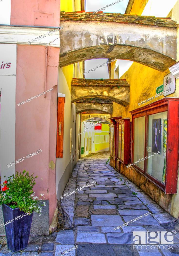 Stock Photo: Alley in Melk's Old Town, Austria.