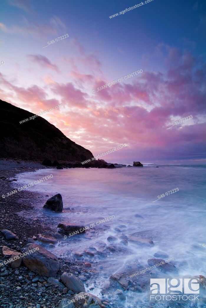 Stock Photo: Sunset at the beach Meñakoz. Vizcaya. Basque Country. Spain.