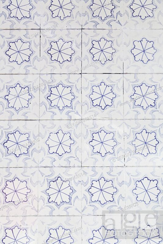 Stock Photo: Wall tiles with typical old Lisbon, detail of traditional decoration of Portugal, ceramic art.