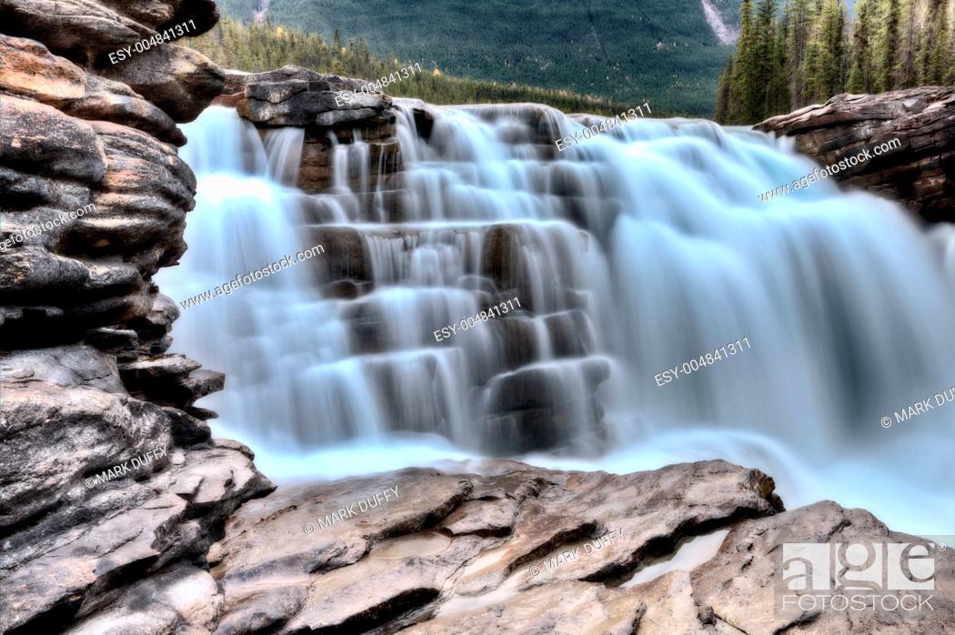 Stock Photo: Athabasca Waterfall Alberta Canada.