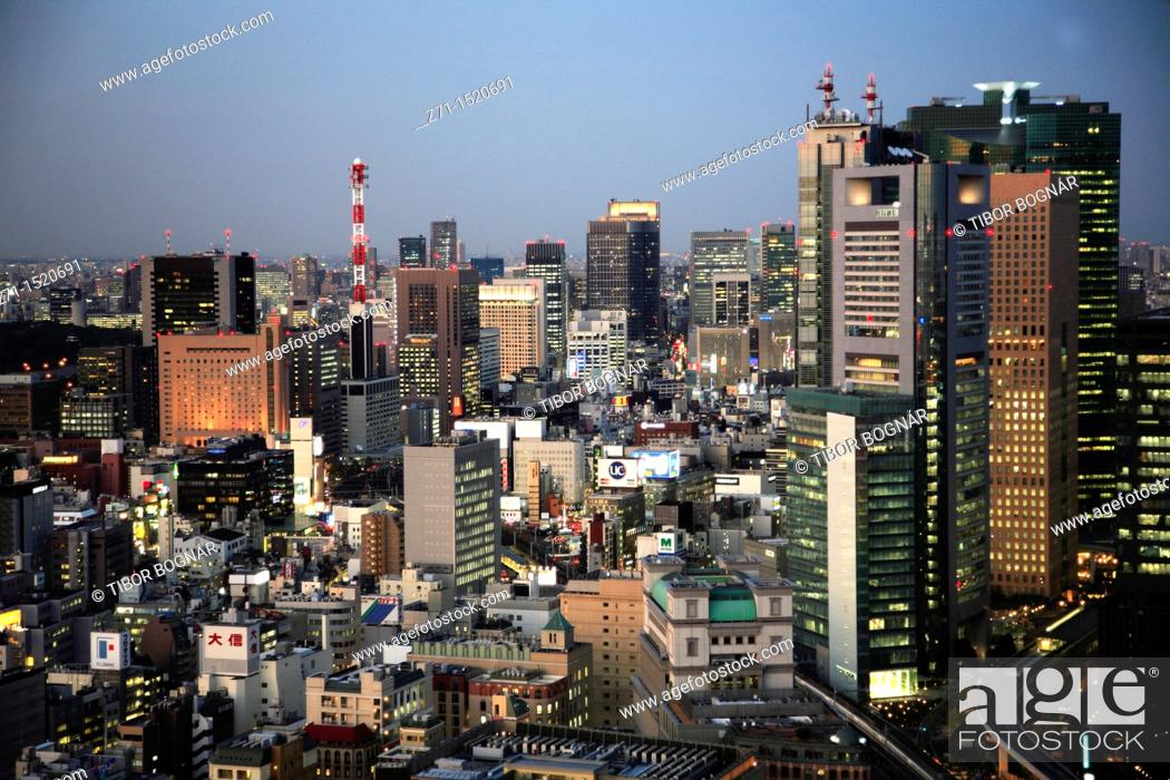 Stock Photo: Tokyo skyline at night, general aerial view, Japan.