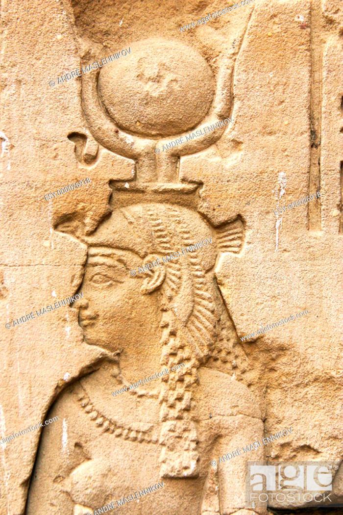 Stock Photo: Isis in Horus temple. Edfu, Egypt.