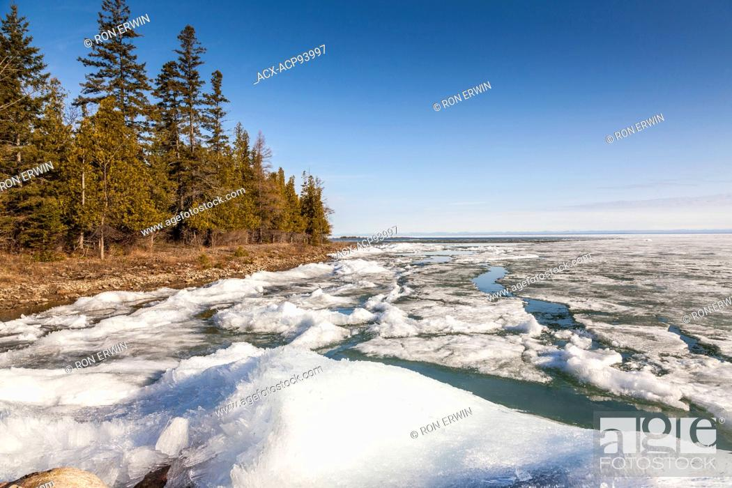 Stock Photo: Spring ice formations off the coast of Barrie Island, Manitoulin Island, Ontario.