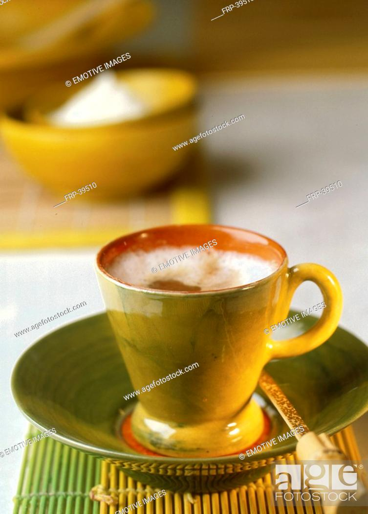 Stock Photo: Cappuccino with cream and coconut flakes.