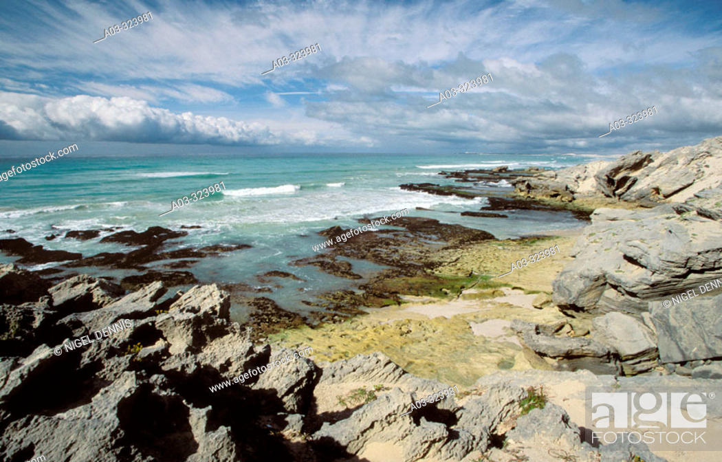 Stock Photo: De Hoop Nature Reserve, seascape with clouds, prime whale watching area, Western Cape, South Africa.
