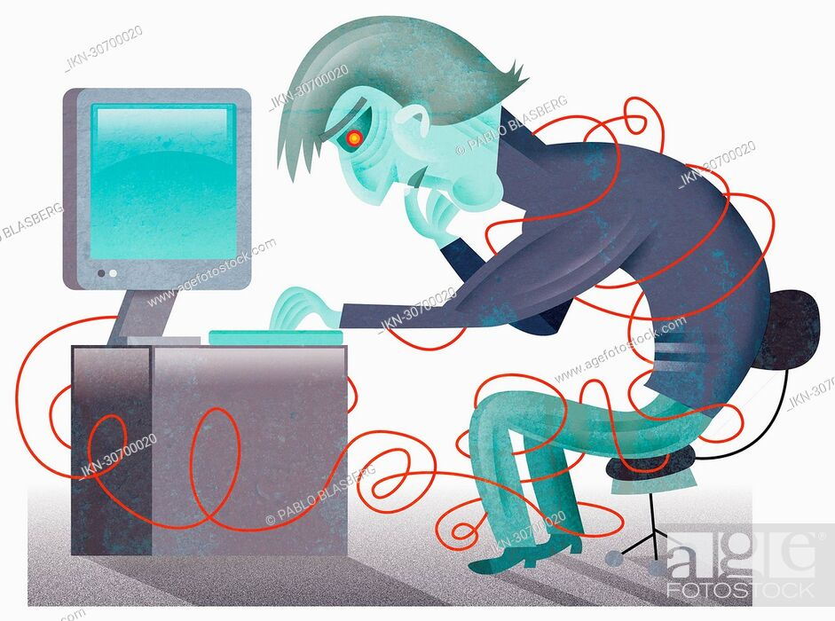 Imagen: Man at computer in tangle of cords.