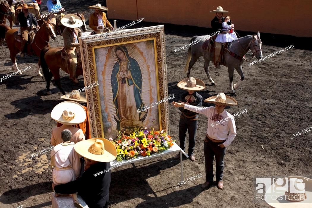 Stock Photo: Charros carry an image of the Our Lady of Guadalupe during a rodeo competition in Mexico City, November 16, 2008.