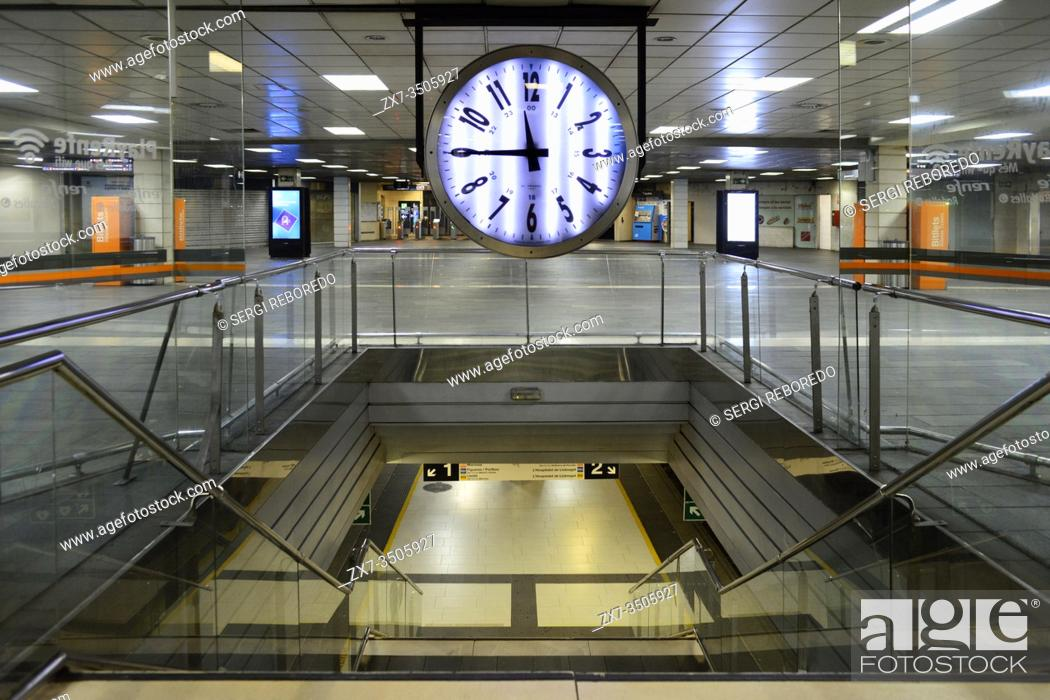 Stock Photo: Catalonia train station, Barcelona Catalonia Spain. The Catalonia square station practically without passengers due to the total confinement of the Spanish.