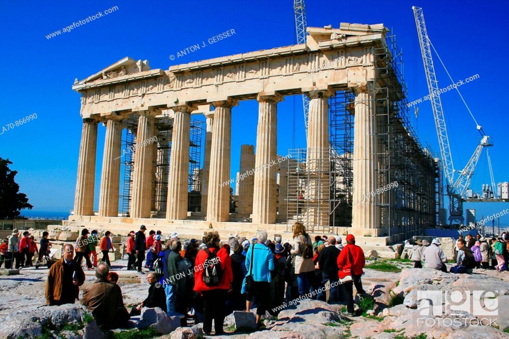 Stock Photo: Group of tourists in the Acropolis (under restoration). Athens. Greece.