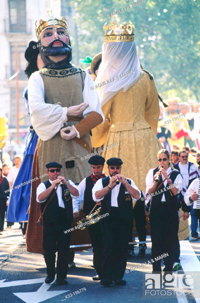 Stock Photo: 'Gigantes y cabezudos', local festival of Virgen del Pilar. Zaragoza. Spain.