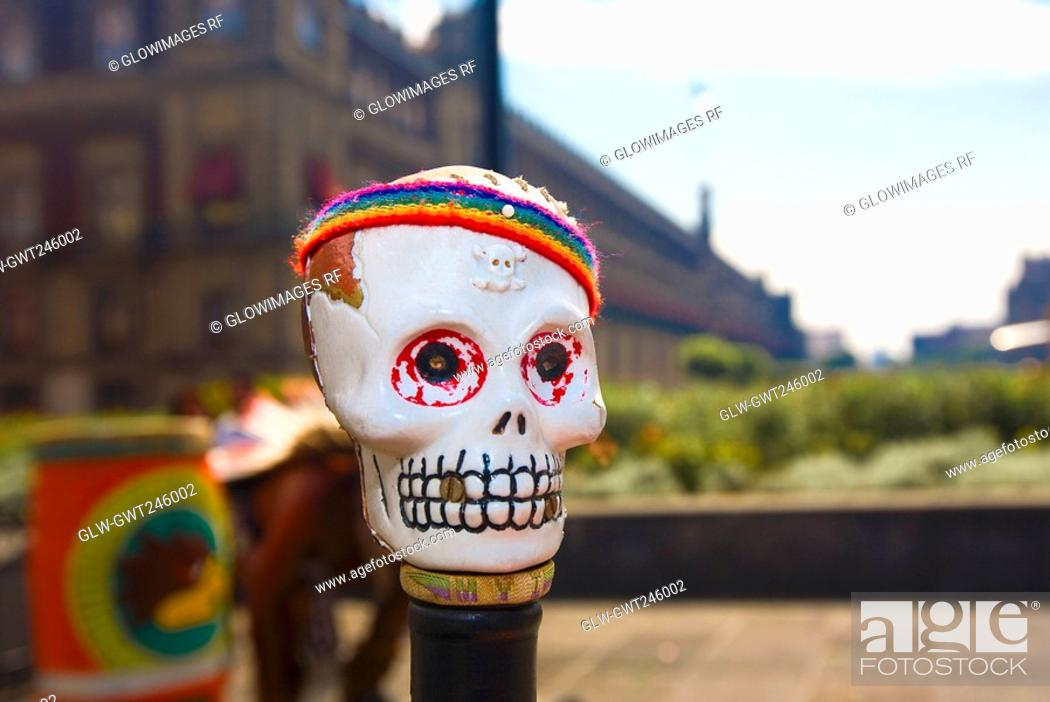 Stock Photo: Close-up of a skull mask, Zocalo, Mexico City, Mexico.