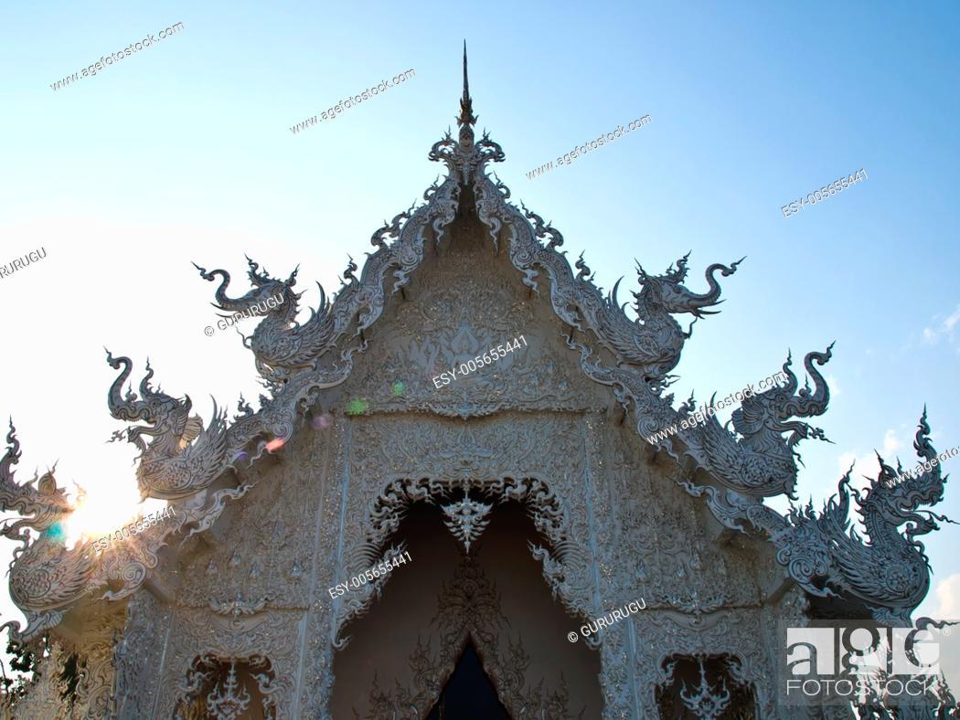 Stock Photo: Closeup of gable, wat Rong khun at Chiang Rai, Thailand.